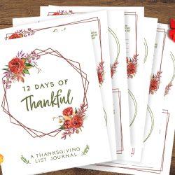 Free Printable List Journal: 12 Days of Thankful